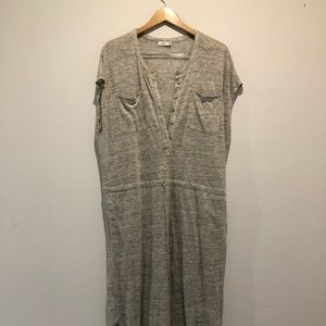 Vince. Grey Stretch Linen Med Casual Maxi Dress